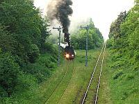 Pociąg specjalny przed semaforem na linii z Sulechowa